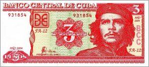 チェ・ゲバラ、キューバ革命、3ペソ札